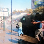 The Chilean police often used water cannons to disperse student demonstrations.