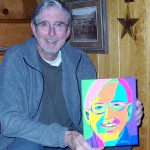 Author Ben Killingsworth at home in Idyllwild with a Pop Art portrait of him