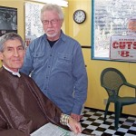 Don, the new Idyllwild barber, with Bill, a 7-time customer