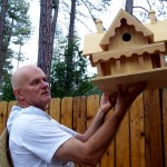 """Resident Peter Hopper shows off his birdhouse """"mansion"""""""