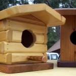 Hopper's bird houses include an Abe Lincoln log house style