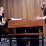 """(at L) Lindsey and Lauren (R) played Koppel's """"Toccata"""" at a fast pace on vibraphone and marimba"""