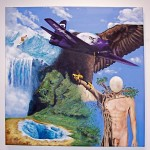 Dean's large painting showcased an eagle/plane and a man/tree