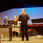 Una (at R) was in awe of Ms. Takada's playing on the marimba (L)