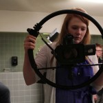 Film students like Alexa, shown with film wheel, work hard all year long. Alexa worked on a 3-2-1 short.