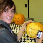 Zen and his Heath Leger pumpkin (with cell phone image)