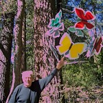 Idyllwild Sculptor Jan Jaspers-Fayer shows off his butterfly sphere