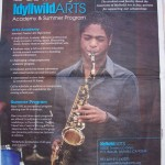 A photo of Jacob, a jazz scholarship student, was featured on the program
