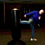John demonstrates his kicking ability