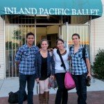 """(from L) Idyllwild Arts dance students Ricardo, Maddy, Gina and Mauricio prepare to dance in """"The Nutcracker"""" with the Inland Pacific Ballet"""