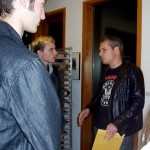 (from L) Eric, a film student, with Shepard Fairey. Eric offered to be an extra camera man sometime.