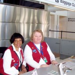(from L) Ontario Airport volunteers Wilma and Janet said many flights were cancelled earlier Sunday