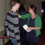 (from L) Isaac receives congrats from Kat Factor, Idyllwild Arts poet-in-residence and head of the IM Department