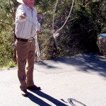 Samuel Perez, 77, demonstrates his roping skills as he sells wood in Idyllwild