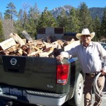 Samuel sells a half cord of eucalyptus wood for $130 in Idyllwild