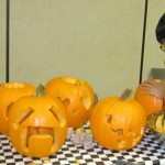 Jimmie with many other pumpkin creations