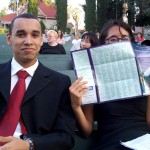 William and Kitty (partially hidden) won $500 in scholarship money from the Redlands Bowl