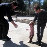 (from L) Josh, Jason's daughter and grandma outside Bowman in Idyllwild