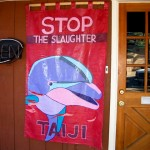 In September, Jeffrey Taylor hung this dolphin banner outside Green Cafe