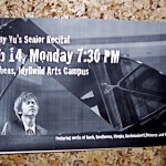 Timmy is hosting his senior recital on Valentine's Day at 7:30 p.m.