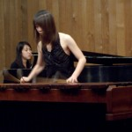 Una played the marimba, while Keri accompanied her on piano
