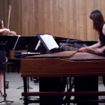 Stephanie (L) on violin with Una on marimba