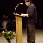 Jordan read from his novel about a guy who believed pigeons were following him