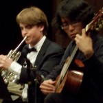 Seann (L) and Young played a duet by Bach