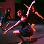"""(from L) Ximena, Cheyenne and Amira's arm movements create a dramatic scene in Geneva's piece, """"Pointless"""""""