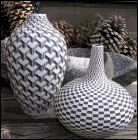 Leslie Thompson's Op Art porcelain pieces at Quiet Creek Saturday
